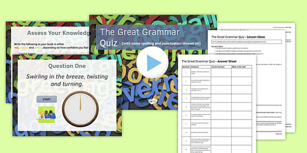 The Great Grammar Quiz Lesson Pack - great grammar quiz, lesson, pack