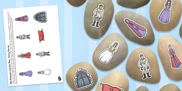 The Princess and the Pea Story Stone Image Cut Outs - story stone, cut outs