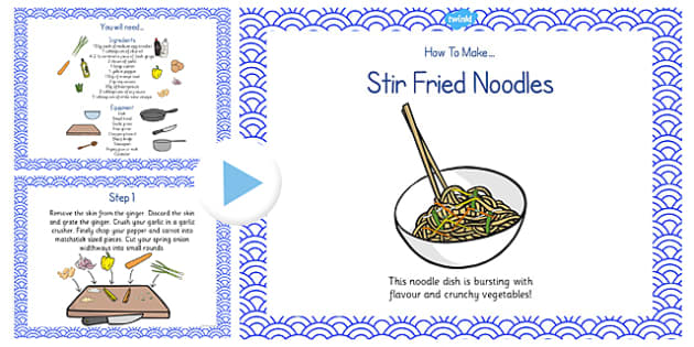 Stir Fried Noodles Recipe PowerPoint - stir fry, noodles, recipe