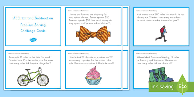 Addition and Subtraction Problem Solving Task Cards - Common Core Second Grade Math Task Cards, CC 2.OA.A.1