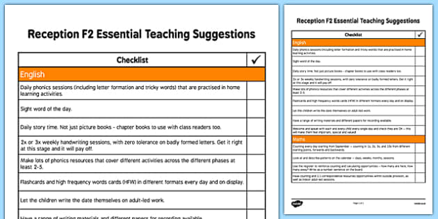 Reception F2 Essential Teaching Suggestions Checklist