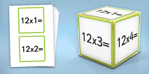 Giant Foam Dice Squares 12 Times Tables - foam dice, squares, 12