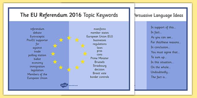 EU Referendum 2016 Keyword Mat - EU, referendum , vote, ballot, Thursday 23rd June 2016, European Union, keywords, word mat, persuasive language, terminology