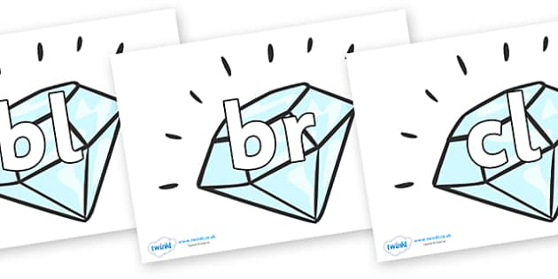 Initial Letter Blends on Diamonds - Initial Letters, initial letter, letter blend, letter blends, consonant, consonants, digraph, trigraph, literacy, alphabet, letters, foundation stage literacy
