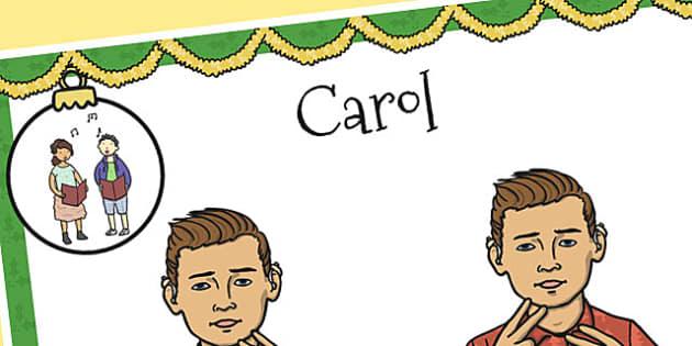 A4 British Sign Language Sign for Carol Left Handed - carol, left