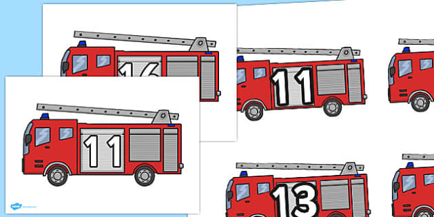 Numbers on Fire Engines 11-20 - numbers, fire engines, 11-20, fire, engine
