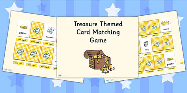 Treasure Card Matching Activity PowerPoint - treasure, card match