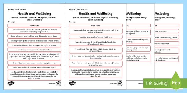 CfE Health and Wellbeing (Social Wellbeing) Second Level Child Friendly Tracking-Scottish