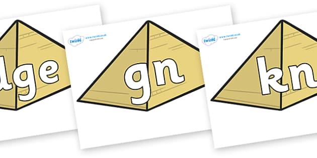 Silent Letters on Pyramids - Silent Letters, silent letter, letter blend, consonant, consonants, digraph, trigraph, A-Z letters, literacy, alphabet, letters, alternative sounds