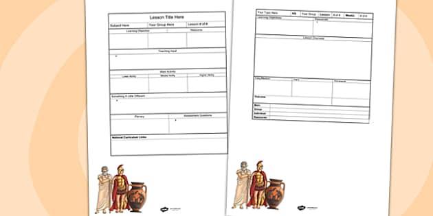 Ancient Greeks Editable Individual Lesson Plan Template - plan