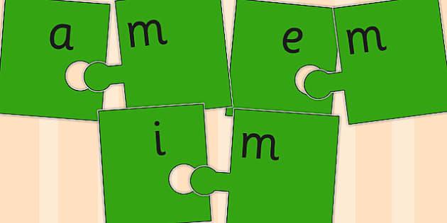 Vowel and Final 'M' Jigsaw Cut Out - final m, sound, jigsaw, cut out