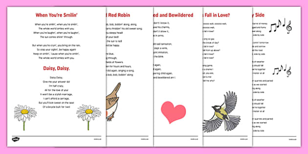 Adult Education Valentine's Day Song Words - Elderly, Reminiscence, Care Homes, Valentine's Day