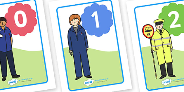 Numbers 0-20 with People Who Help Us Posters - Numbers on People who help us, Foundation Numeracy, Number recognition, Number flashcards, counting, Role Play, Doctor, Nurse, Teacher, Police, Fire fighter, Paramedic, Builder, Caretaker, Lollipop, Tra