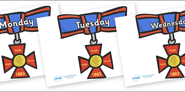 Days of the Week on Medals - Days of the Week, Weeks poster, week, display, poster, frieze, Days, Day, Monday, Tuesday, Wednesday, Thursday, Friday, Saturday, Sunday
