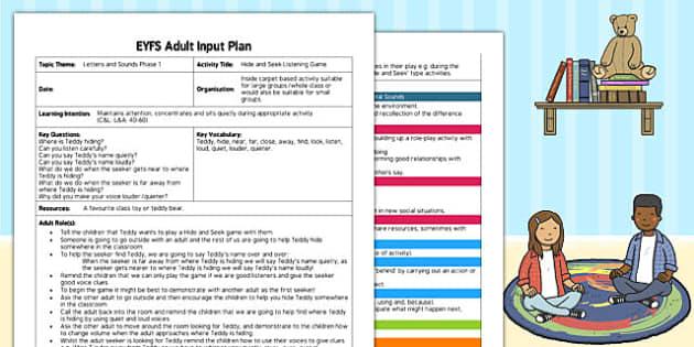Hide and Seek Listening Game EYFS Adult Input Plan - input, plan