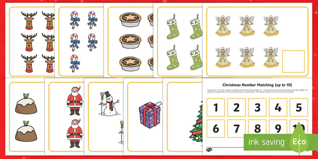 Workstation Pack: Christmas Number Matching (up to 10) Activity Pack
