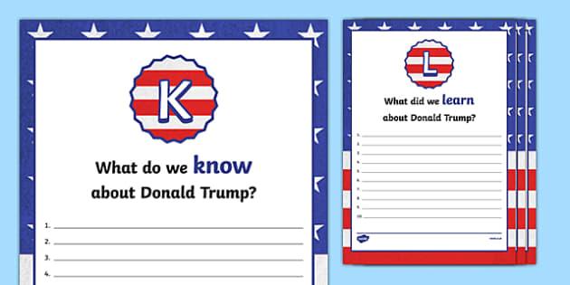 Donald Trump KWL Activity Sheets, worksheet