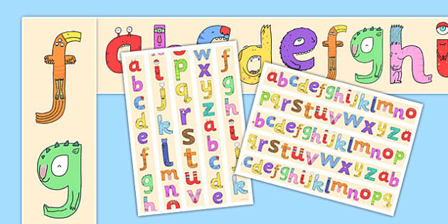 Lower-Case Monster Alphabet Display Borders - letters, display