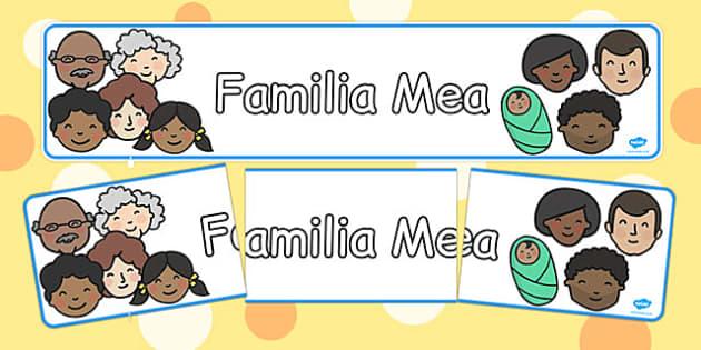 Familia Mea, Banner - decor clasa pregatitoare, membrii familiei, Romanian