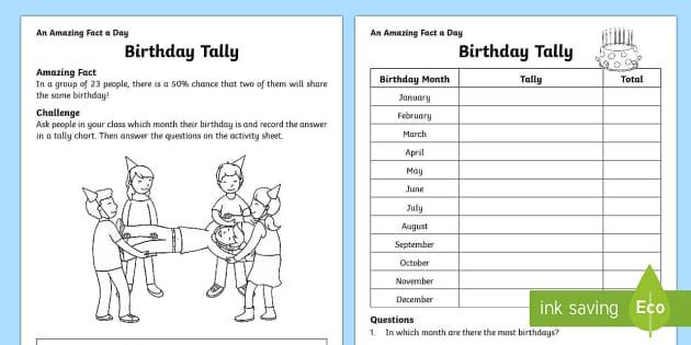 Birthday Tally Activity Sheet