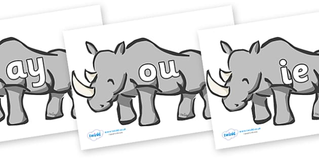 Phase 5 Phonemes on Rhinos - Phonemes, phoneme, Phase 5, Phase five, Foundation, Literacy, Letters and Sounds, DfES, display