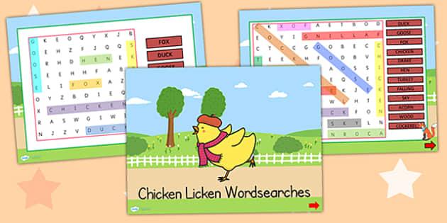 Chicken Licken Interactive Wordsearch - story books, word games