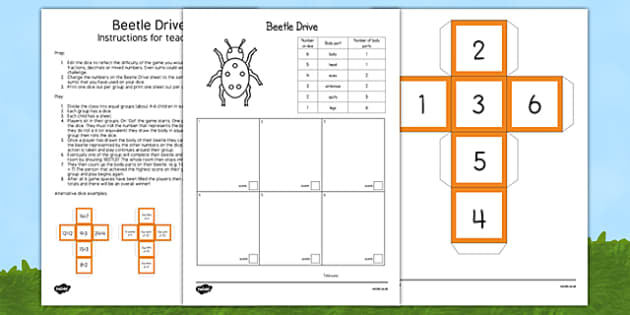 Editable Beetle Drive Game - insects, dice, die, game, play, numbers, count, calculations, maths, activity, edit, change
