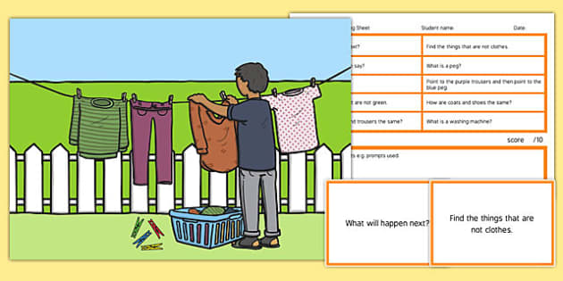 Washing Day Blanks Level 3 Questions - receptive language, expressive language, verbal reasoning, language delay, language disorder, comprehension, autism