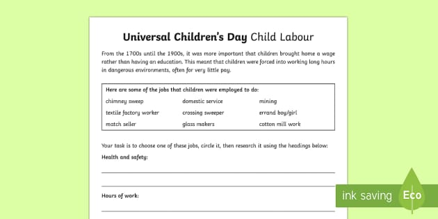 KS2 Universal Children's Day Child Labour Activity Sheet