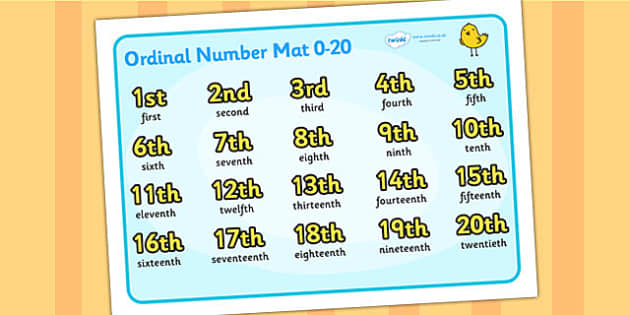 Ordinal Number Mat (0-20) - Ordinal numbers, writing aid, word mat, counting, 1st, 2nd, 3rd, first, second, third, foundation stage numeracy, ordinal, numeracy