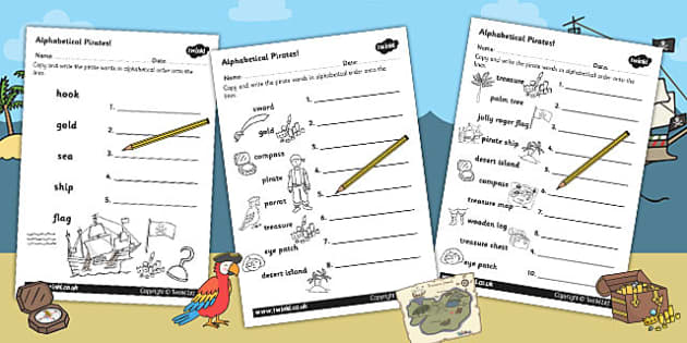 Pirate Alphabet Ordering Worksheet - pirate, a-z, alphabet, order