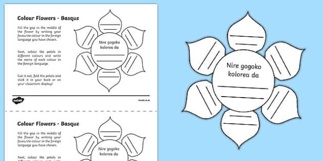 MFL Basque Colour Flowers Activity Sheet, worksheet