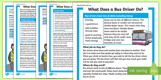 What Does A Bus Driver Do? Differentiated Fact File