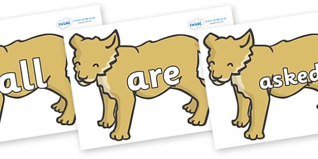 Tricky Words on Puppy - Tricky words, DfES Letters and Sounds, Letters and sounds, display, words