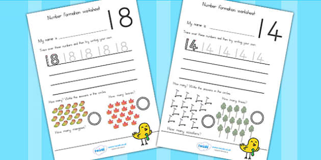Number Formation Worksheets 10 20 - number formation, numbers