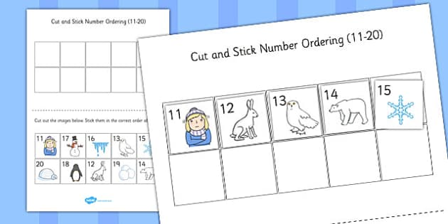 Winter Themed Cut and Stick Number Ordering Sheets 11-20 - number