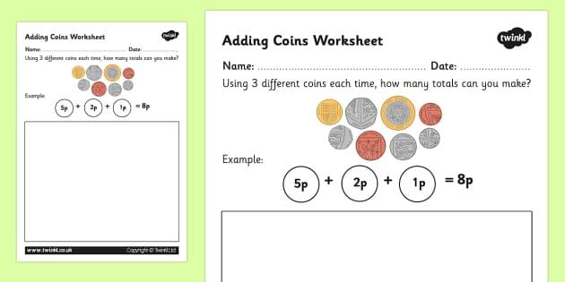 Adding Coins Worksheet New Coins - money, addition, numeracy