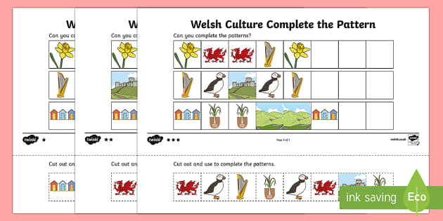 Welsh Culture Complete the Pattern Activity Sheets - welsh, culture, complete the pattern, activity, pattern