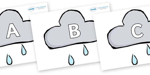 A-Z Alphabet on Weather Symbols (Rain) - A-Z, A4, display, Alphabet frieze, Display letters, Letter posters, A-Z letters, Alphabet flashcards