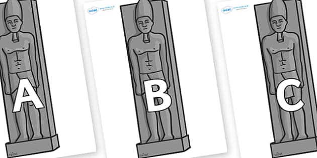 A-Z Alphabet on Egyptain Statues - A-Z, A4, display, Alphabet frieze, Display letters, Letter posters, A-Z letters, Alphabet flashcards