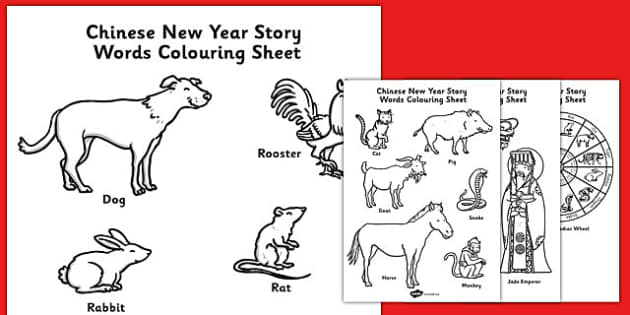Chinese New Year Story Words Colouring Sheet - colouring, chinese