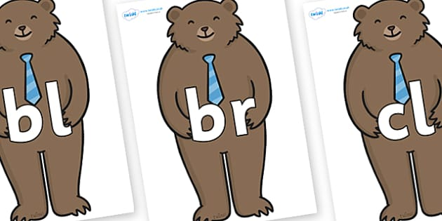 Initial Letter Blends on Daddy Bear - Initial Letters, initial letter, letter blend, letter blends, consonant, consonants, digraph, trigraph, literacy, alphabet, letters, foundation stage literacy