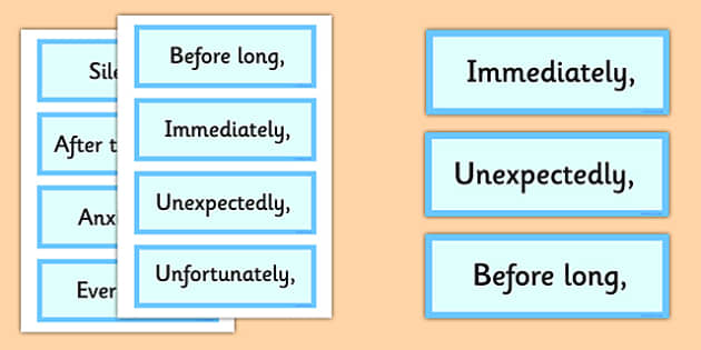 Fronted Adverbial Cards - fronted adverbial, cards, adverbial