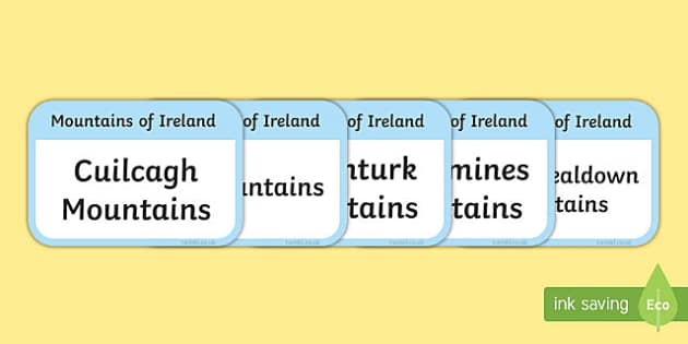 Mountains of Ireland Flashcards-Irish