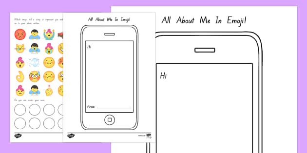 All About Me Emojis Activity Sheet - New Zealand Back to School, emojis, all about me, cell phone, mobile phone, all about me