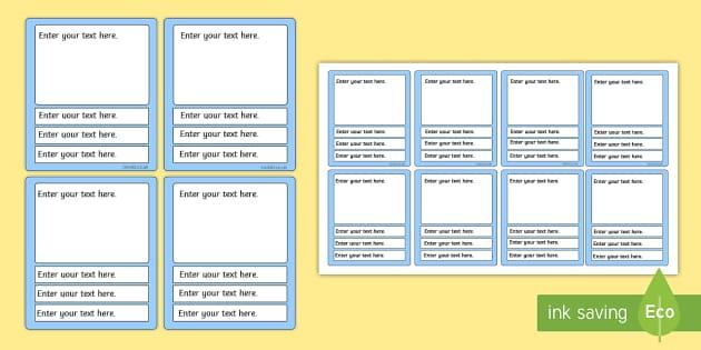 Editable Card Game Templates (Blue) - editable top trumps templates, top trumps, game, fun, activity, play, blue, templates, template, top, trumps, editable,