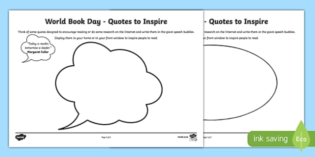 World Book Day Quotes to Inspire Writing Frames - world, book, day, quotes
