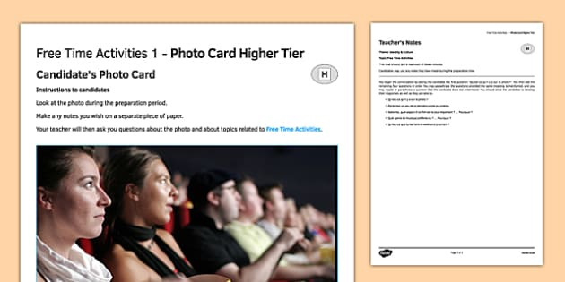 Les loisirs 1 Carte photo Higher Tier - french, Photo, Picture, Card, Higher, Free Time, Leisure, Activities, Hobbies