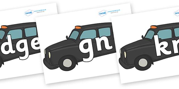 Silent Letters on Taxis - Silent Letters, silent letter, letter blend, consonant, consonants, digraph, trigraph, A-Z letters, literacy, alphabet, letters, alternative sounds