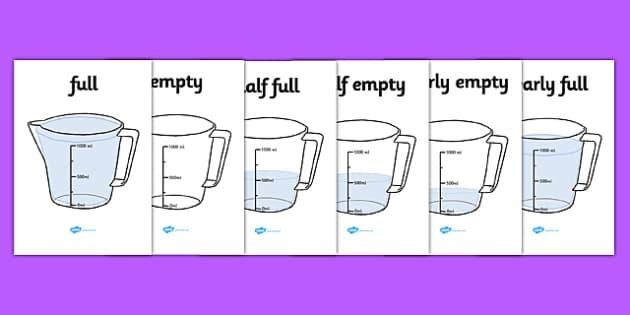 Capacity Display Posters (Jugs) - Capacity display posters, capacity, volume, litre, full, empy, half full, measure, jug, cup, water, display, poster, freize, numeracy, measurement, capacity, poster